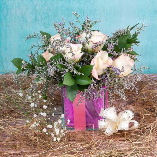 Bouquet Base Vidrio-Desayuno sorpresa para mujer